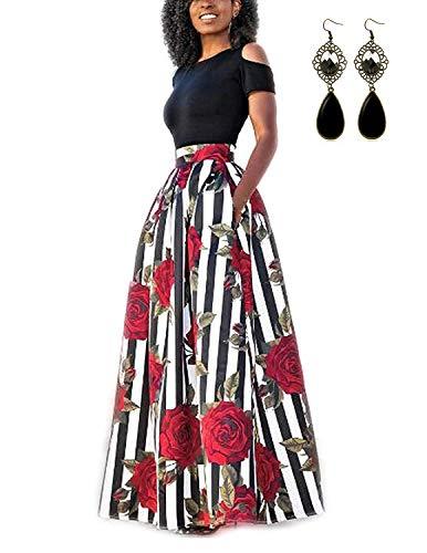 carinacoco Donna Vestiti Lunghi Due Pezzi Senza Spalline Manica Corta Camicetta + Rosa Stampa Gonne Lungo Elegante Vestito Maxi da Sera,Nero+Bianco,XXL