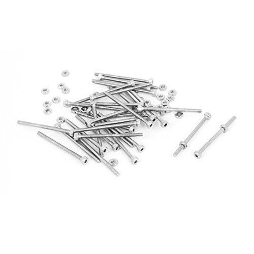 M2x30mm Tornillos de cabeza hexagonal moleteados Tornillos Tuercas Juego de 30 piezas
