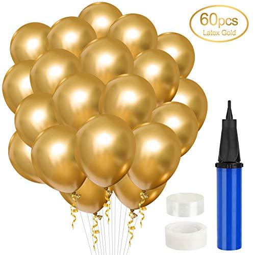 Gafild 60PCS Luftballons Gold Metallic-Luftballons Set,Glänzendes Luftballons Latexballons Partyballon Metallic Ballons für Geburtstagsdeko,Party Dekoration Deko