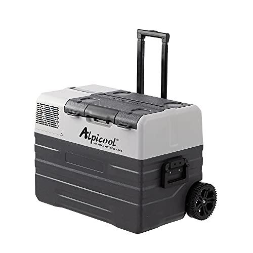 Alpicool 42L NX42 tragbarer Kühlschrank 12V 24V Kühlbox elektrische Gefrierbox klein Gefrierschrank für Auto camping, Lkw, Boot und Steckdose mit USB-Anschluss/Teleskopstange/Rad