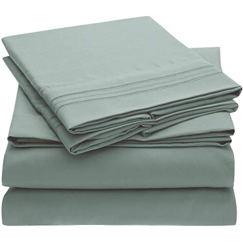 Mellanni Bed Sheet Set - Brushed Microfiber 1800 Bedding - Wrinkle, Fade, Stain Resistant - 4 Piece (Queen, Spa Blue)