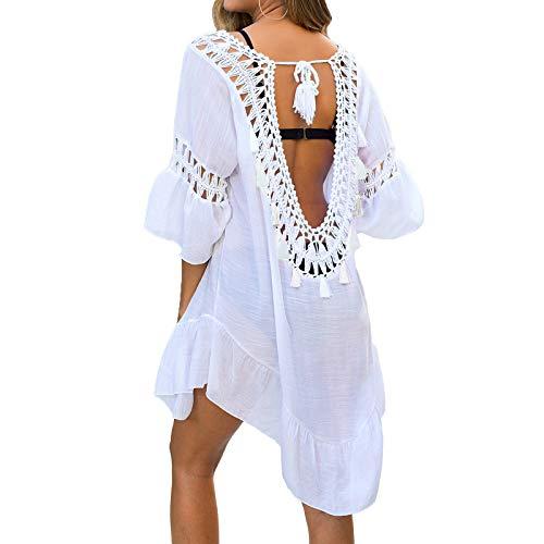 NIBESSER Strandkleid Damen Strandponcho Sommer Bikini Cover Up Strandurlaub Badeanzug Quasten Rückenfrei Strand Vertuschen Shirt Mini Kleid Beachwear (Weiß,Plus)