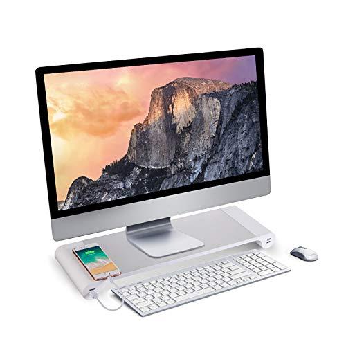 PG 机上台 モニタースタンド 4 USBポート付き キーボード収納 アルミ合金製ブラケット デスク 卓上 収納整...