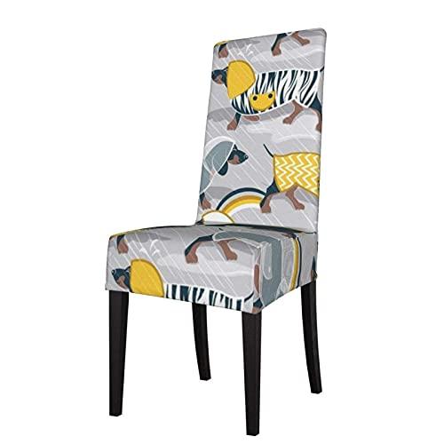 Fundas para sillas April Showers Frenzy Fondo Gris Claro Azul Marino Dachshunds Perros Estiramiento de la Silla de Comedor Funda de Asiento para sillas