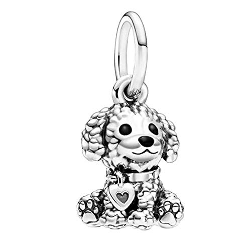 Annmors Poodle Puppy Dog Charm, Black Enamel Dangle Pendant Charm 925 Sterling Silver for Woman Girl Beads Gifts for Women Bracelet&Necklace