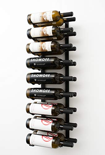 VintageView W Series (3 Ft) - 18 Bottle Wall Mounted Wine Rack (Satin Black) Stylish Modern Wine Storage with Label Forward Design