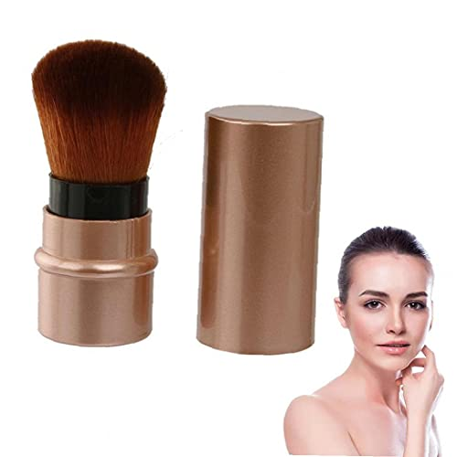 1pc rétractable maquillage fard à joues pinceaux professionnels Pinceau Kabuki Fondation Pinceau Poudre Maquillage de Voyage Portable outil pour la poudre contournage ou cosmétiques crème (Brown)