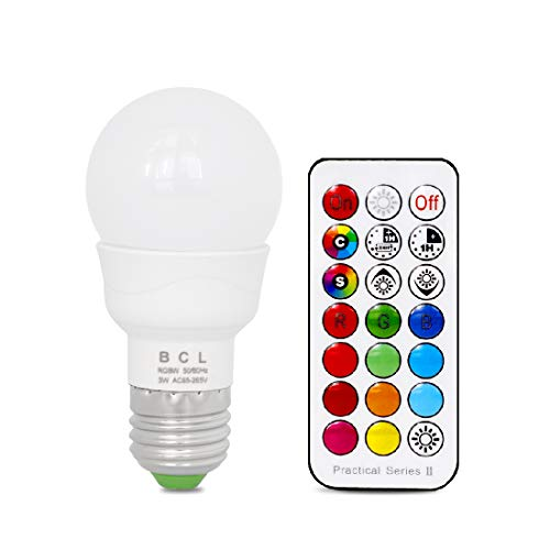 BCL 5W LED Color Changing Light Bulb with IR Remote, RGB and Warm White, 3-Way and Memory Function, 20W Equivalent, fit for Daily Illumination and Mood ambiance [1 Pack]
