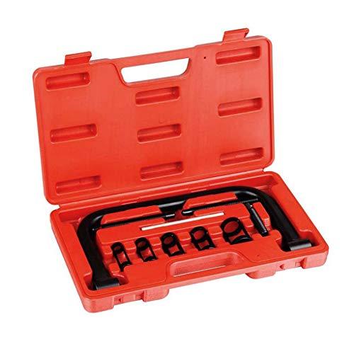 Todeco - Ventilfeder-Spanner, 11-teiliger Werkzeugkasten für Ventilfedern - Material: C45 Stahl - Gehäusegröße: 33,5 x 19,5 x 5,5 cm - mit rotem Koffer, 11 Teile