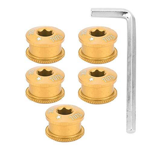 VGEBY1 5 Stücke Fahrrad Kurbelschrauben, Fahrrad Kettenblatt Schrauben Fahrradscheibenschrauben mit Schraubenschlüssel Radfahren Zubehör(5mm-Gold)