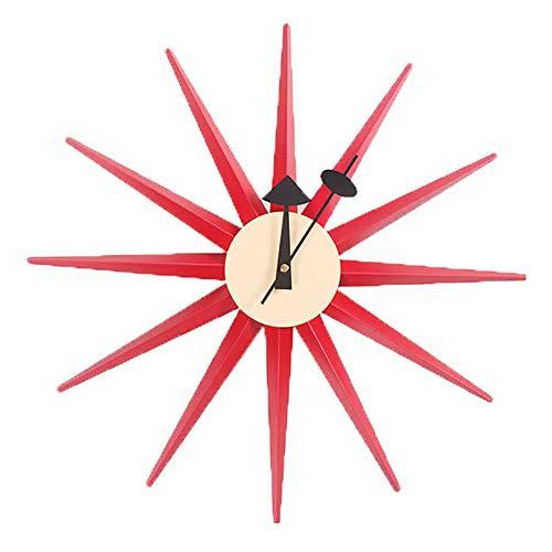 18 Zoll Klassische Hölzerne Sunburst Wanduhr Stumm Nicht Tickende Dekorative Wall Clock Wohnkultur,Red