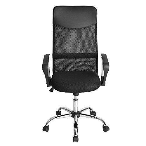 FurnitureR Sedia girevole schienale alto da ufficio, con seduta imbottita e resistente base cromata
