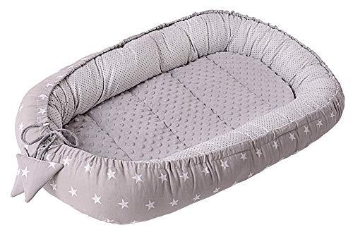 Nido Bebé Recién 95x50cm plantilla removible Medi Partners 100% Algodón Cunas nido para bebés Reductor de Cuna de dos caras (Estrellas blancas sobre gris con gris Minky)