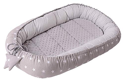 Baby nest for Newborn Cuddle 100% Cotton 90x50x13cm Medi Partners Removable Insole Cocoon Minky (White stars with Grey Minky)