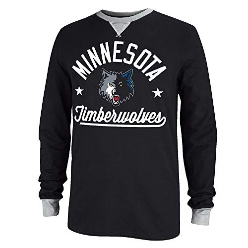 Adidas Minnesota Timberwolves - Sudadera de manga larga, color negro, Medium, Negro