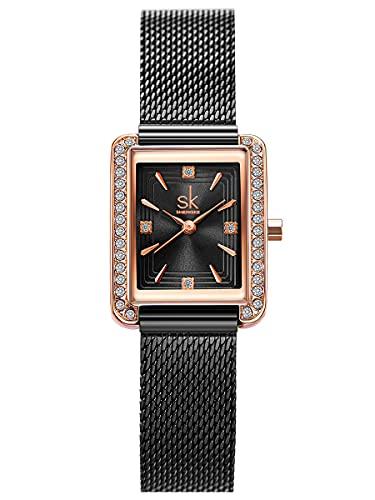 Alienwork Reloj Mujer Oro Rosa Banda de Malla Metálica Negro Strass Purpurina Elegante