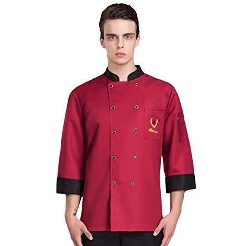 Dooxii Unisex Herren Damen Herbst Winter Langarm Kochjacke Tops Atmungsaktiv Kuchen Backen Küche Hotel Uniform Berufsbekleidung