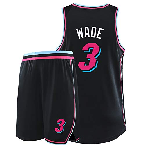 Wade 3. Jersey Flash, geeignet für Miami Heat Retro-Basketball-Trainingsanzüge, Basketball-Kampfuniformen, Basketball-Shirts für Herren und Damen, Beste Spieler-cityblack-XL