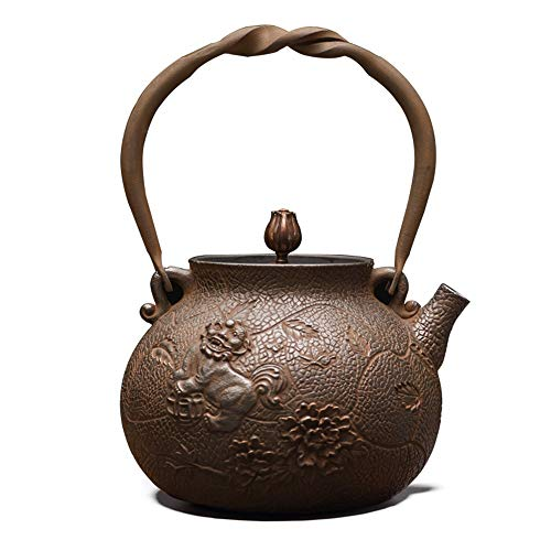 Cast Iron Teapot Pure Handmade Household Boiling Kettle Uncoated Old Pot Boiling Water Iron Teapot Iron Pot Cast Iron Tea Set Tea Best Gift (Color : Iron, Size : 23x16x10cm)