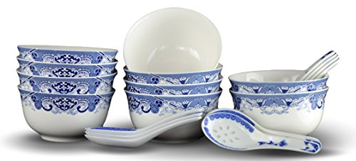 10 Pcs Fine Bone China Blue and White Chinese Soup Bowls Ceramic Porcelain Bowl, with Free 10 Porcelain Spoons Rice Bowl