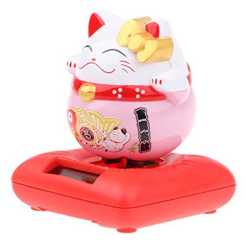 Solar Powered Nodding Bobbing Japanese Fortune Cat Lucky Kitten Solar Home Decor Bobbleheads Animal Pet Model Toy #C1