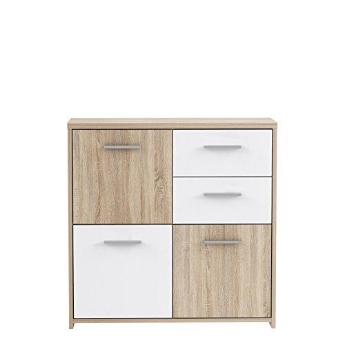 FORTE Kommode, Holz, Sonoma Eiche Dekor Kombiniert Mit Weiß, 77.2 x 29.6 x 77.5 cm