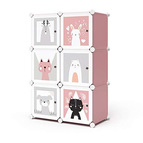 Vicco Kleiderschrank Andy Kinder modular Kinderregal Kleiderstange Steckregal (Rosa, 6 Fächer - Katze)