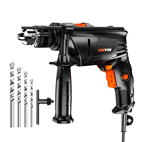 Rotary Hammer Drill for Concrete, Lomvum 7.3Amp 3000RPM Electric Impact Drill, 1/2'' Metal Chuck Variable Speed Corded Drill for Brick/Wood/Steel/Masonry with 4 Drill Bit Set