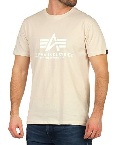 ALPHA INDUSTRIES Herren Basic T-Shirt, Jet Stream White/White, L