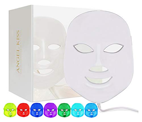 Led Light Therapy Facial Mask - Angel Kiss 7 Color LED Mask - Red Photon Light Skin Rejuvenation Treatment Skin Toning Facial Skin Care Mask - White