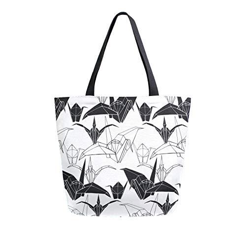 Ahomy Origami Cranes - Bolso de lona para mujer, tamaño grande, reutilizable, para compras, bolsa de compras
