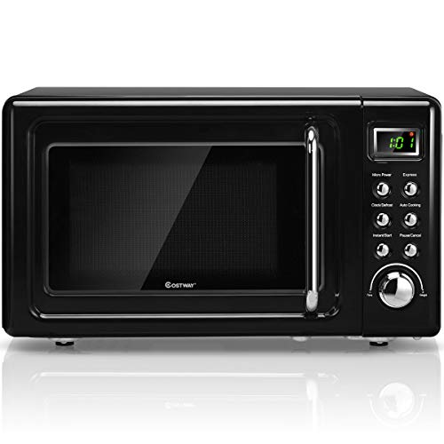Retro Countertop Microwave Oven, Large 0.7Cu.ft, 700-Watt, Cold Rolled Steel Countertop with Time Setting, Glass Turntable Plate, Pre-Programmed Cooking Settings, LED Display, Child Lock (Black)