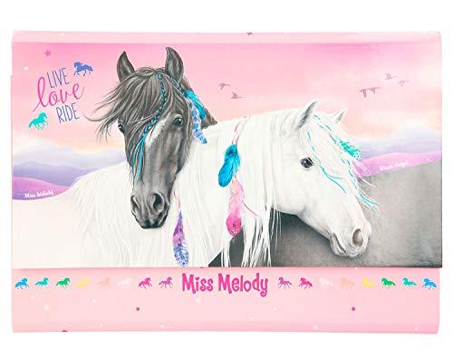 Depesche 11417 Briefpapier in Fächermappe, Miss Melody, rosa, ca. 26 x 18,5 x 2,5 cm, enthält 24 fein linierte Blätter und 18 passende Umschläge