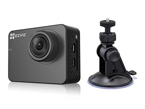 ezviz S2Lite Sport & Dash Cámara Car, resolución Full HD, WiFi, Bluetooth 4.0, Modo Sport y guía, Soporte de Ventosa para Coche Incluido, Gris