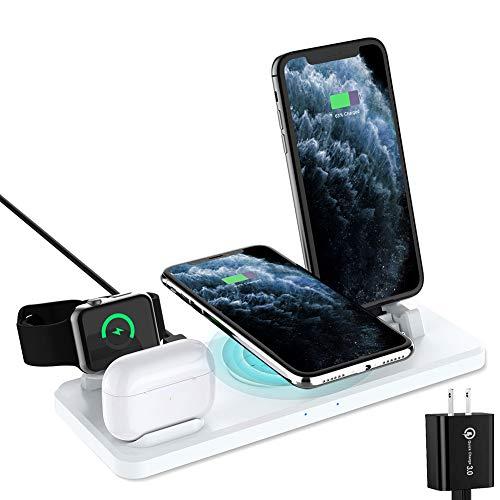MZBZYU Estación de Carga inalámbrica con QC3.0 Adaptador, 6 en 1 Base de Carga rápida para iPhone 11/11 Pro MAX/XS/XR/XS MAX/8 Plus, Soporte de Cargador para iWatch Series, Blanco