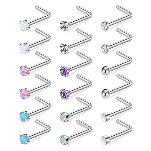 AVYRING 20G Nose Studs L Bar Shape Nostril Rings Nose Bone Nose Screw Surgical Steel Piercing Jewelry for Women Colorful CZ 2mm