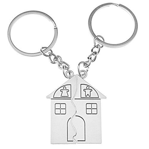 Coppia di portachiavi Love Family House a ciondolo, divisibili, unisex, a forma di casa, ideali per coppia, materiale: lega, 2 pezzi
