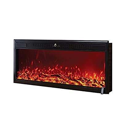 VBARV Electronic Flame Fireplace Heater - Built-in non-porous recessed wall-mounted electric fireplace heater for home office heater flame effect remote control electric fireplace