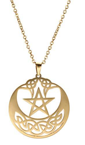 Edelstahl Pentagramm Anhänger Kette Keltischer Knoten Kreis Halskette Glücksbringer Schmuck für Damen (Gold Stil 3)
