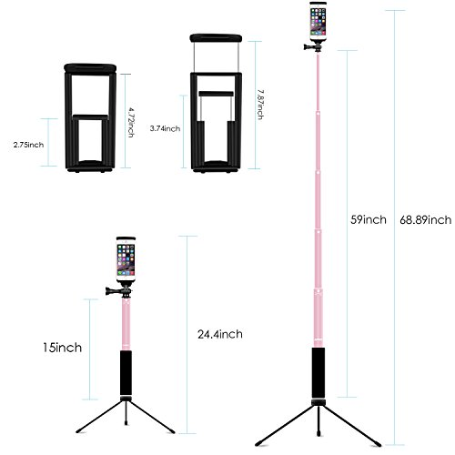 Bluetooth Selfi   e Stick Tripod, Remote 59Inch MFW Extendable Monopod with Tripod for iPhone 11/11 PRO/X/XS max/XR/8/7/6/Plus,iPad,Samsung S9 S7/S8, LG, Google Pixel Android,GoPro Cameras (Rose Gold)