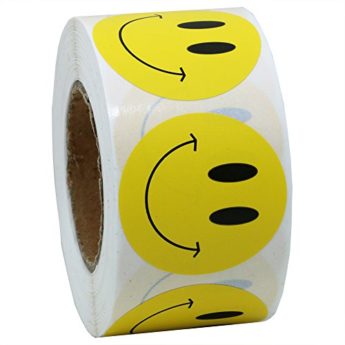 """Hybsk Yellow Smiley Face Happy Stickers 1.5"""" Round Circle Teacher Labels 500 Total Per Roll (Yellow)"""