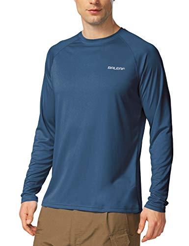 BALEAF Men's Long Sleeve Shirts Lightweight UPF 50+ Sun Protection SPF T-Shirts Fishing Hiking Running Bluish Violet Size L