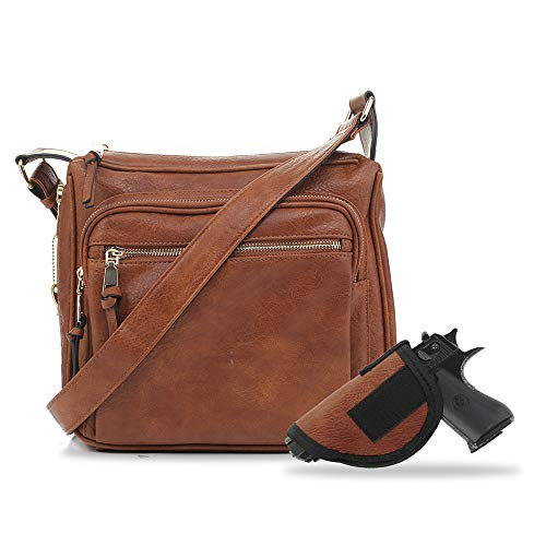 Jessie & James | Concealed Carry Crossbody Gunbag RFID Blocking Faux Leather Locking Firearm Self Defense Removable holster | Tan