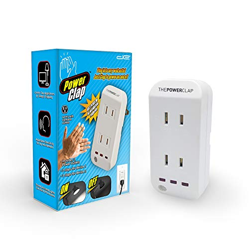 Power Clap | Clapper Light Control Noise Detecting Wireless Wall Outlet with a 3 Level Sensitivity Switch | Turns Appliances On/Off with Clapping Sound Sensor | 120V 200W 2 Outlet