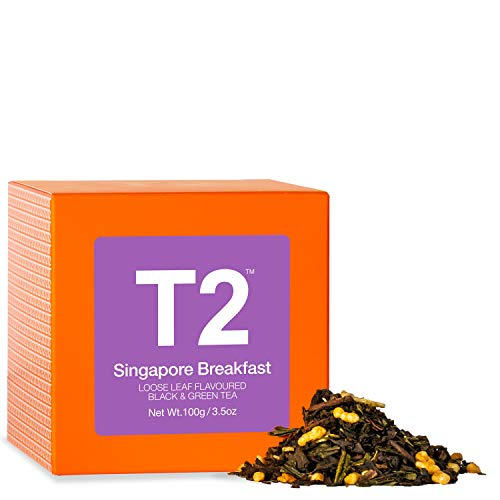T2 Tea - Singapore Breakfast Tea, Loose Leaf Black Tea & Green Tea in Gift Cube, 100g,3.5oz
