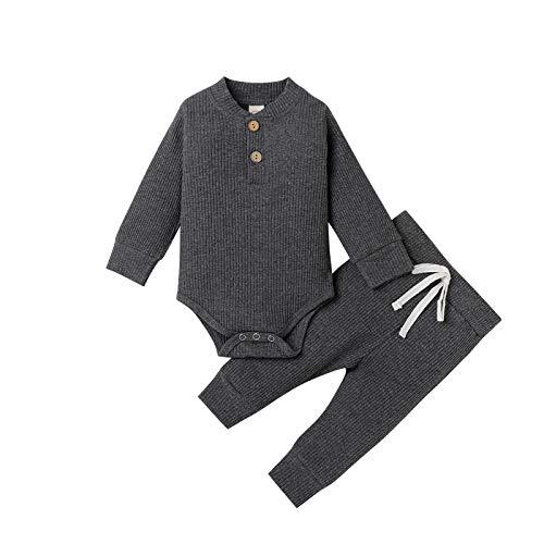 Neugeborene Unisex 2 Stück Baby Kleidung Junge Mädchen Solid Button Bodysuit Strampler Langarm Tops Kordelzug Hosen Strick Outfit (Dunkelgrau, 0-3 Monate)