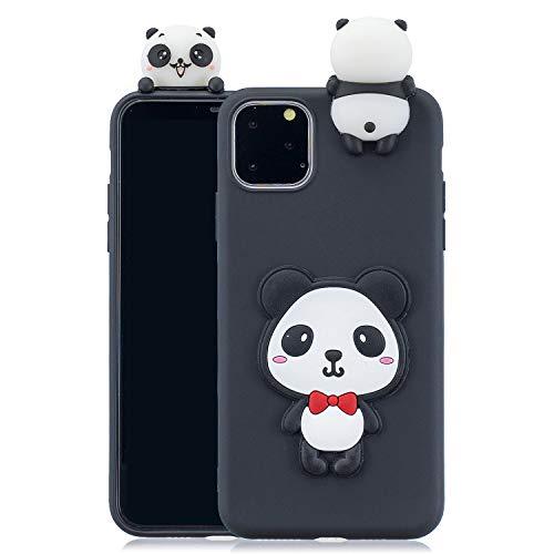 CrazyLemon Hülle für iPhone 11 Pro Max, 3D Niedlich Panda mit roter Krawatte Muster Komponenten mit Stehen Puppe Weich TPU Silikon Handyhülle Voller Schutz Stoßfest für iPhone 11 Pro Max - Pattern 05