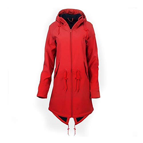 iHENGH Damen Frühling Herbst Mantel bequem Solide Regenjacke Outdoor Jacken mit Kapuze Regenmantel Winddicht Parka Coat(Rot-3, S)