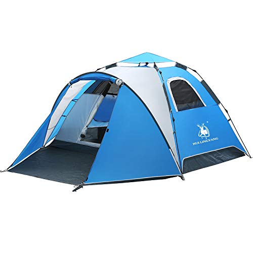 4 Person Easy Pop Up Tent-Automatic Setup Sun Shelter for Beach- Instant Family Tents for Camping,Hiking & Traveling