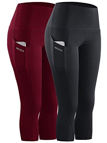Neleus 2 Pack Tummy Control High Waist Workout Yoga Capri Leggings Yoga Pants,9027,Black,Dark red,XL,EU 2XL